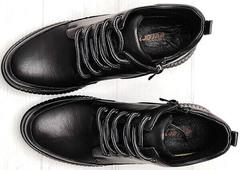 Черные кожаные кеды ботинки женские на шнуровке Evromoda 535-2010 S.A. Black.