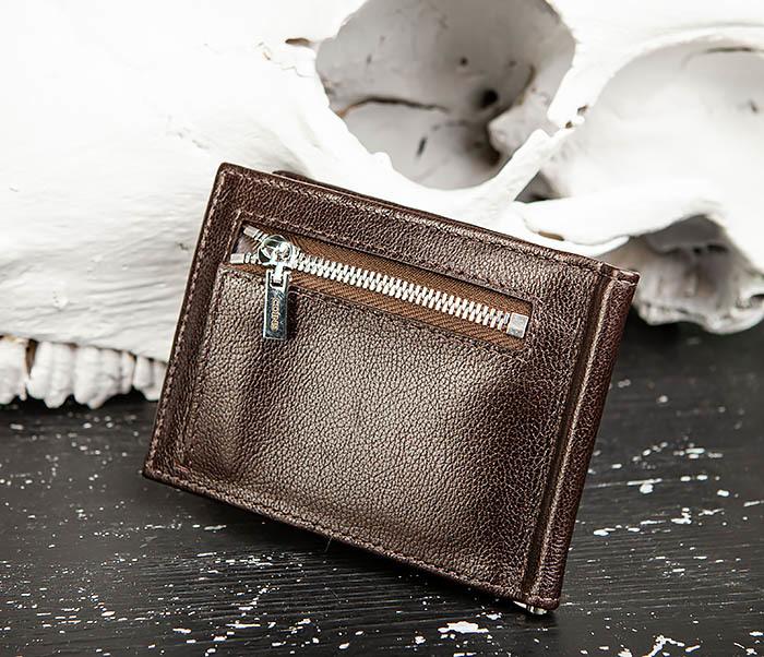 WL323-2 Мужской кожаный зажим для купюр «Atos» с монетницей фото 06