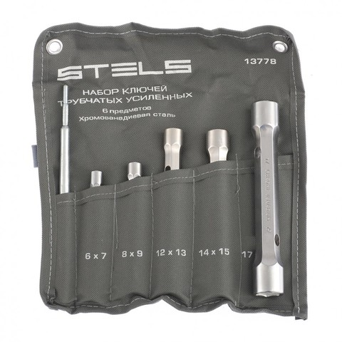 Набор ключей трубок торцевых усиленных 6 предметов, CrV Stels