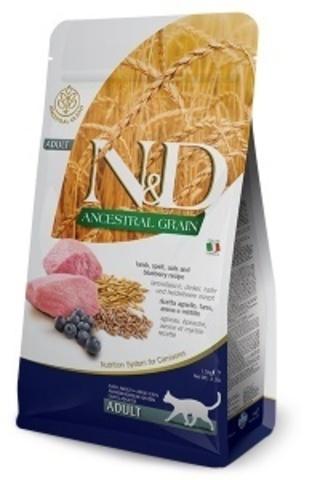 Сухой корм для кошек Farmina N&D Ancestral Grain Adult низкозерновой с ягненком и черникой 10 кг