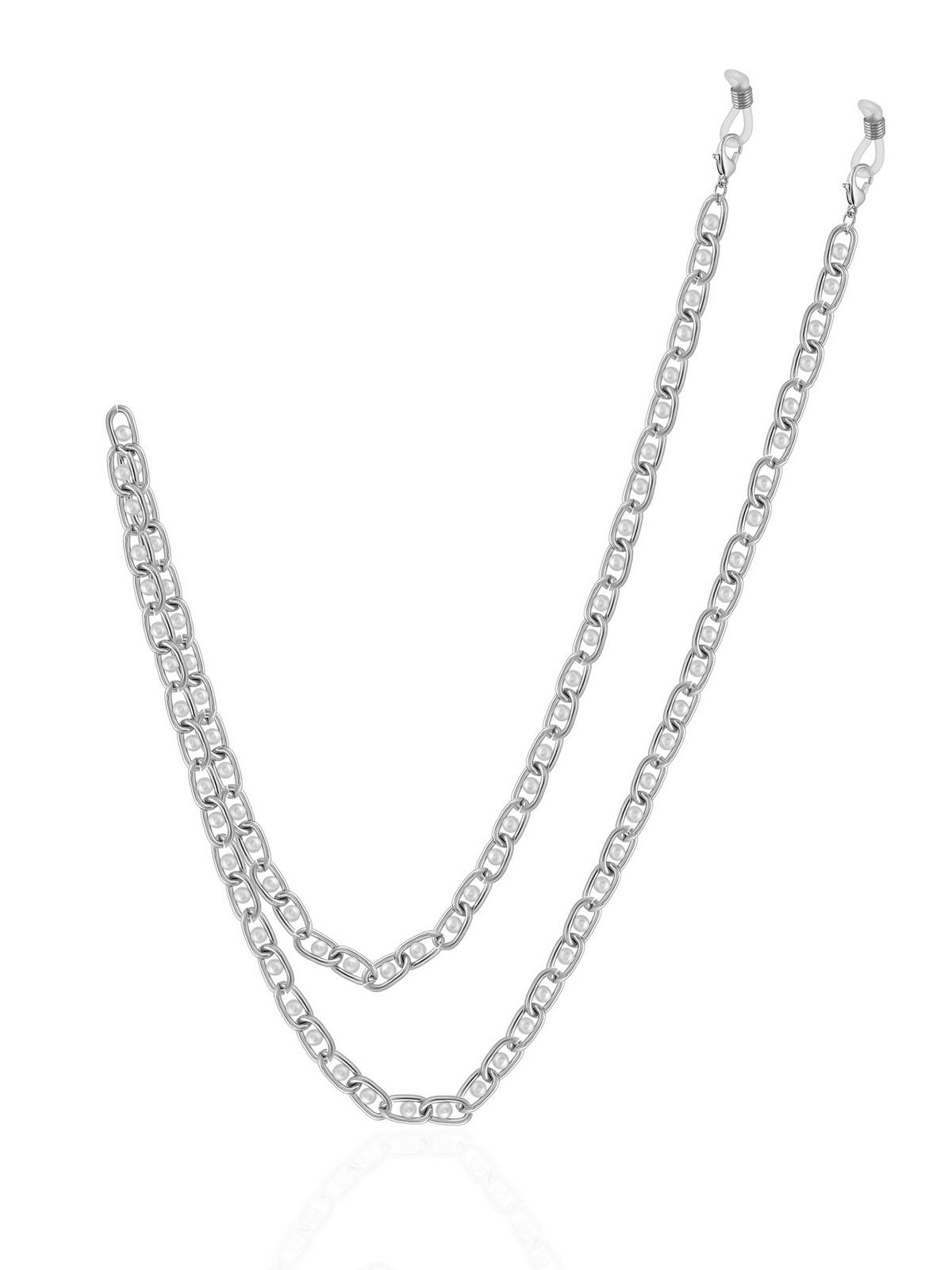 Серебристая цепочка для очков с жемчугом