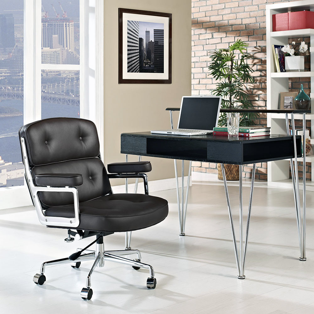 Кресло Eames Style Lobby Chair ES104 черная кожа - вид 2
