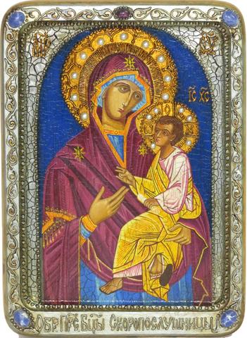 Живописная инкрустированная икона Божией матери