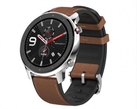 Умные часы Amazfit GTR 47 мм stainless steel case, leather strap