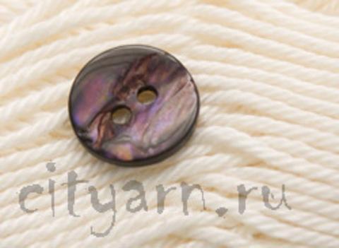 Пуговица перламутровая, круглая, фиолетовая с тёмными полосами, диаметр 12 мм