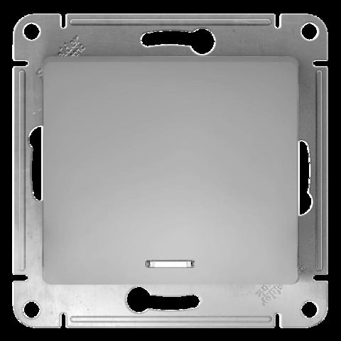 Переключатель одноклавишный с подсветкой, 10АХ. Цвет Алюминий. Schneider Electric Glossa. GSL000363