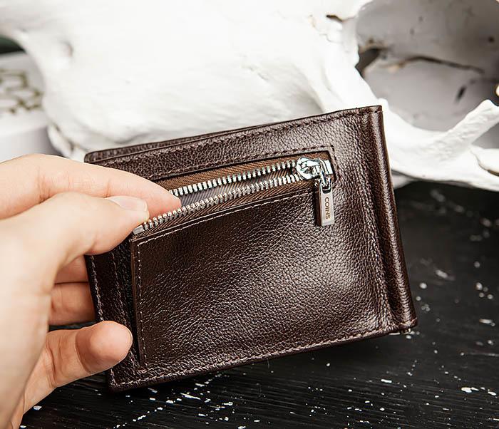WL323-2 Мужской кожаный зажим для купюр «Atos» с монетницей фото 08