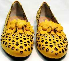Желтые женские туфли с перфорацией Phany 103-28 Yellow.