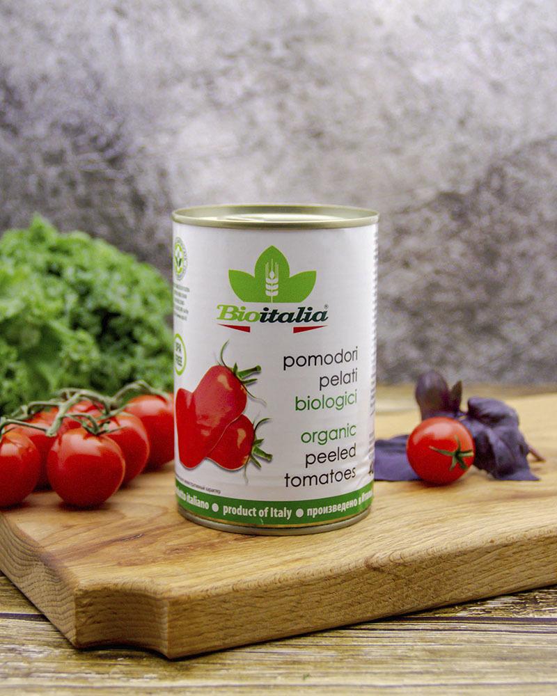 Томаты Bioitalia очищенные в томатном соке 400 гр.