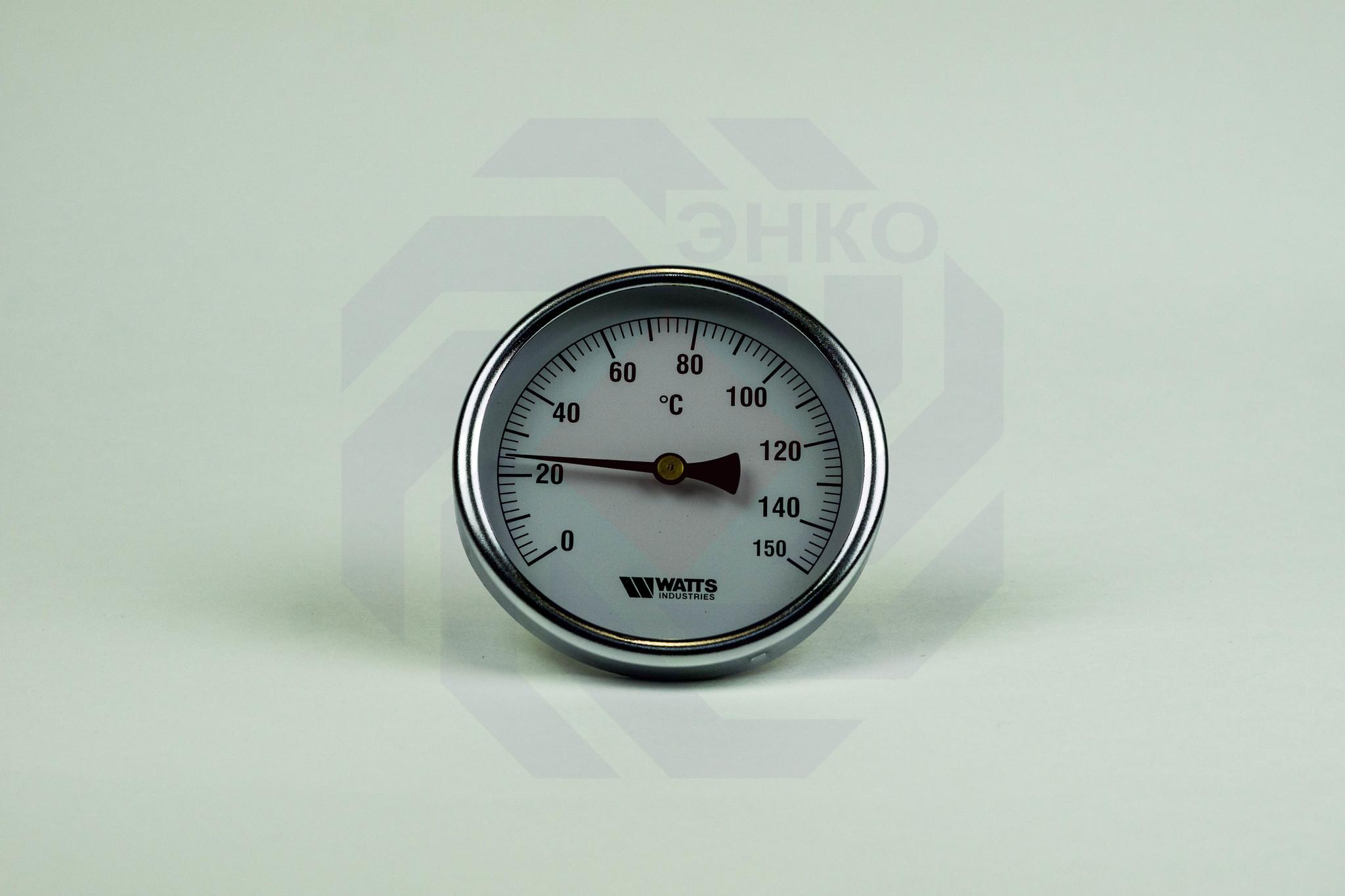 Термометр биметаллический аксиальный WATTS F+R801 SD 0-150 °С 100 мм ½
