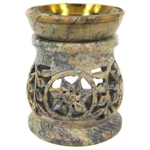 Аромалампа Stone камень c бронзовой чашей, 9,5 см