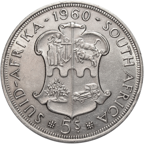 5 шиллингов. 50 лет Южноафриканскому союзу. Южная Африка. Серебро. 1960 год. XF-AU