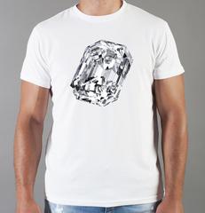 Футболка с принтом Бриллиант (с бриллиантами, с камнями, diamonds) белая 004