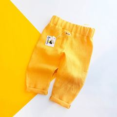 Штаны льняные желтые