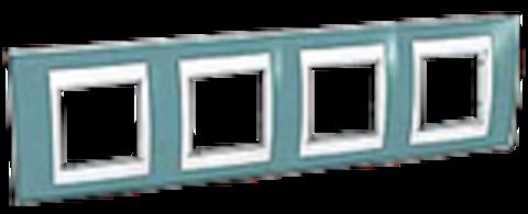Рамка на 4 поста. Цвет Синий/Белый. Schneider electric Unica Хамелеон. MGU6.008.873