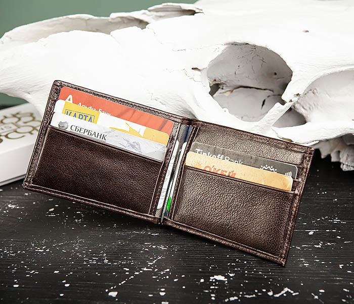 WL323-2 Мужской кожаный зажим для купюр «Atos» с монетницей фото 10