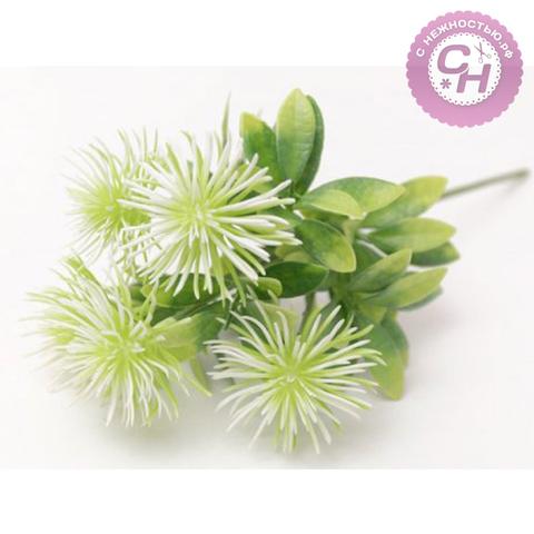 Искусственная зелень Чертополох, 5 веток, букет 39 см, 1 шт.