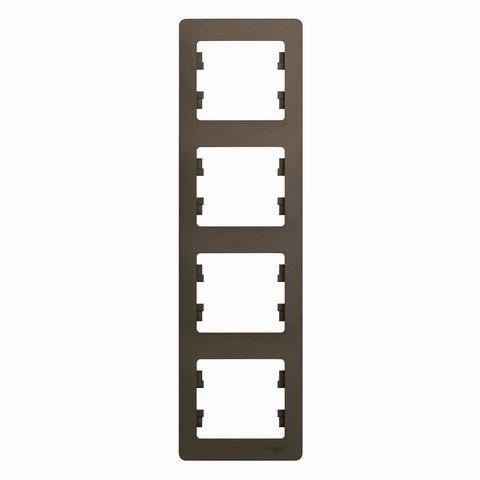 Рамка на 4 поста, вертикальная. Цвет Шоколад. Schneider Electric Glossa. GSL000808