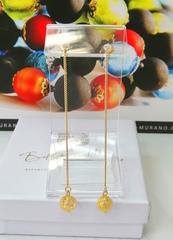 Серьги из муранского стекла на цепочке с бусиной Long Ca'D'oro Crystal Gold