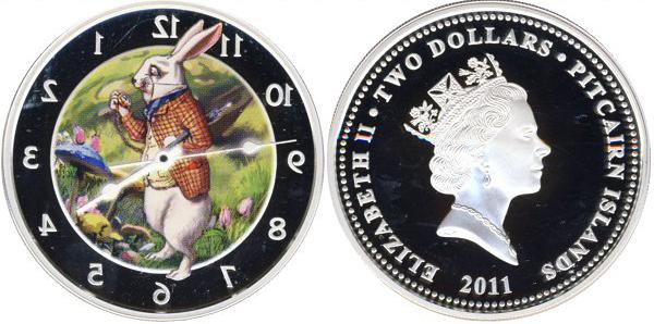 2 доллара 2011 год. Острова Питкэрн. Кролик Алиса в стране чудес Серебро