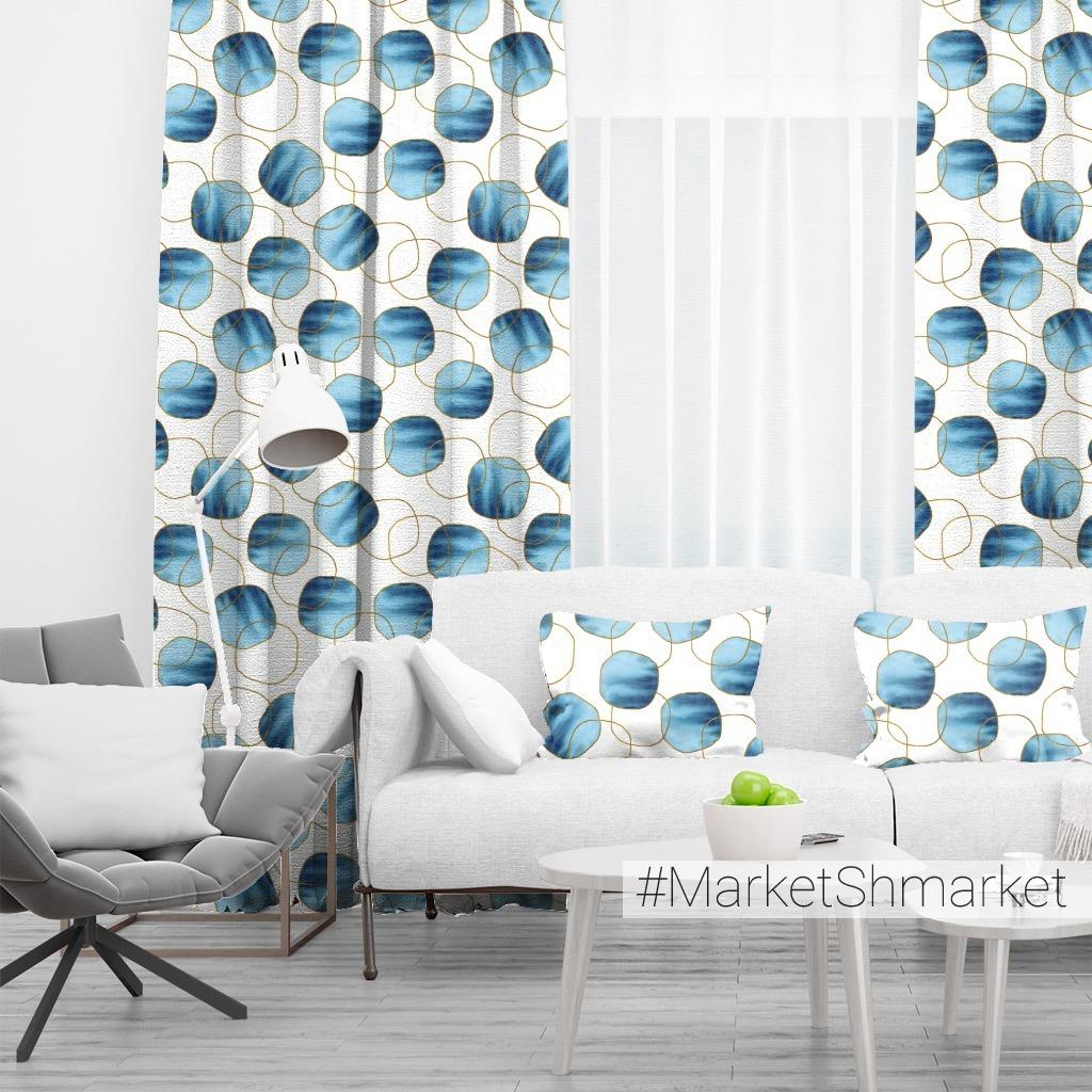 Акварельная абстракция с сине-золотыми кругами