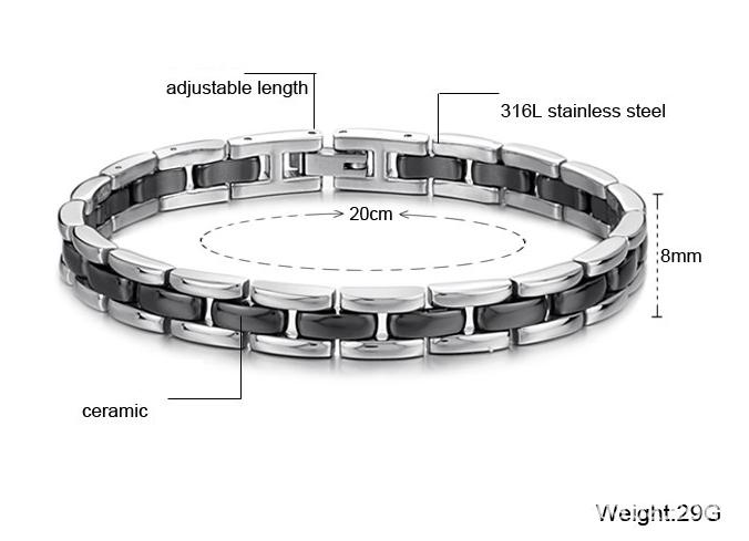 Мужской браслет из стали и керамики Steelman mn00289