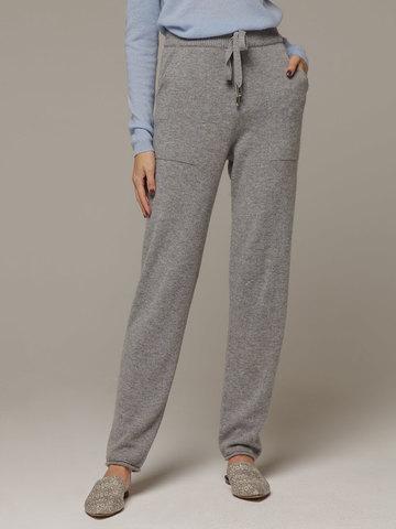 Женские серые брюки с карманами из 100% кашемира - фото 2