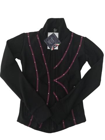 Термокуртка со стразами (черный с розовым)