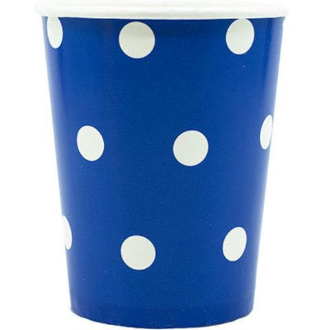 1502-3940 Стаканы Горошек синие 250мл, 6 шт