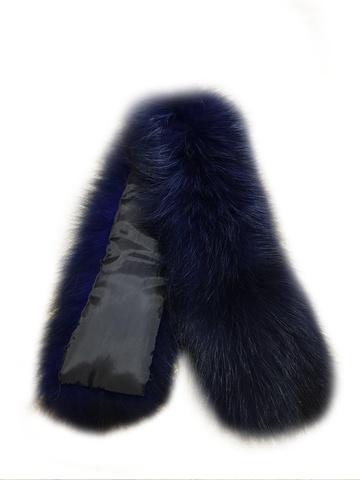 Опушка меховая на капюшон из натурального меха енот 70 см. Синяя