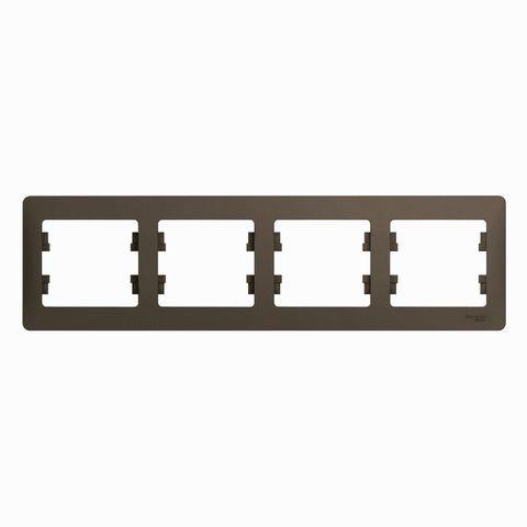 Рамка на 4 поста, горизонтальная. Цвет Шоколад. Schneider Electric Glossa. GSL000804