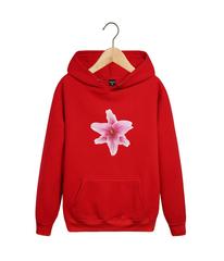 Толстовка красная с капюшоном (худи, кенгуру) и принтом Цветы (Лилии) 001