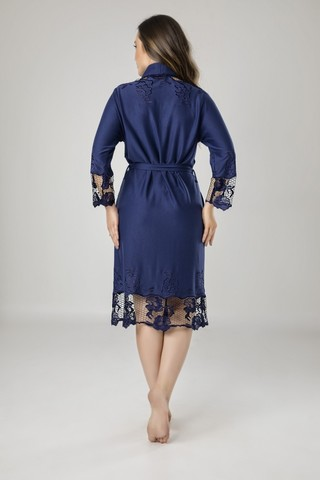 Легкий трикотажный халат 8670 синий  NUSA Турция
