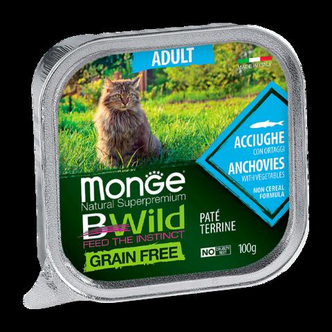 Monge Cat BWild Grain Free Консервы для взрослых кошек из анчоусов с овощами, беззерновые (ламистер)