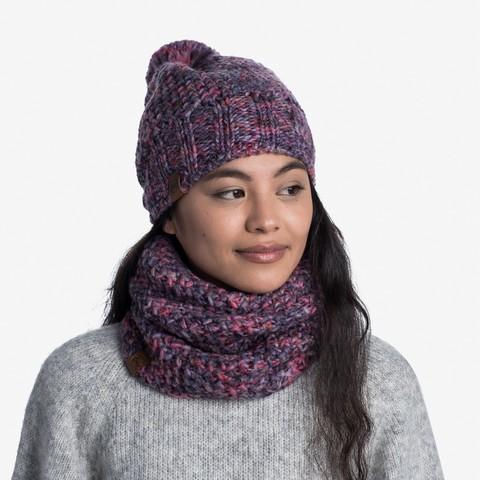 Комплект шапка шарф вязаный с флисом Buff Margo Purple фото 1