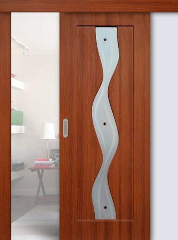 Дверь раздвижная Сибирь Профиль Водопад, цвет итальянский орех, остекленная