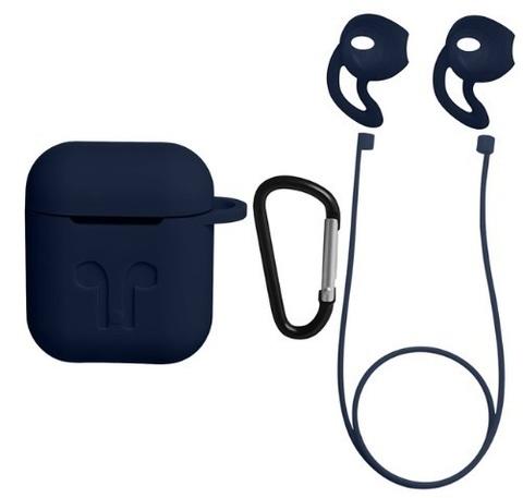 Защитный набор 4 в 1 для Apple Airpods (темно-синий)