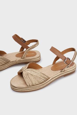 Женские золотистые сандалии TH ARTISANAL FLAT SANDAL Tommy Hilfiger