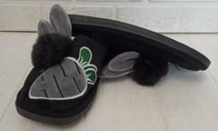 Комнатные тапочки зайчики PR 128 black
