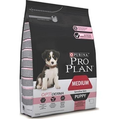Pro Plan Optiderma сухой корм для щенков средних пород с чувствительной кожей с лососем