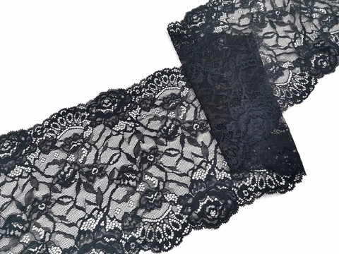 Эластичное кружево, 21 см, черное, м, (Арт: EK-2276), м
