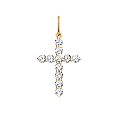3124-Крестик с фианитами из золота 585 пробы