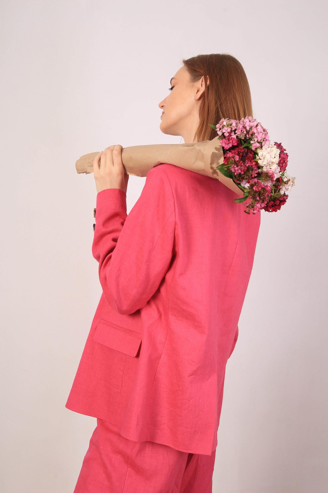 Костюм из 100% льна в цвете фуксия