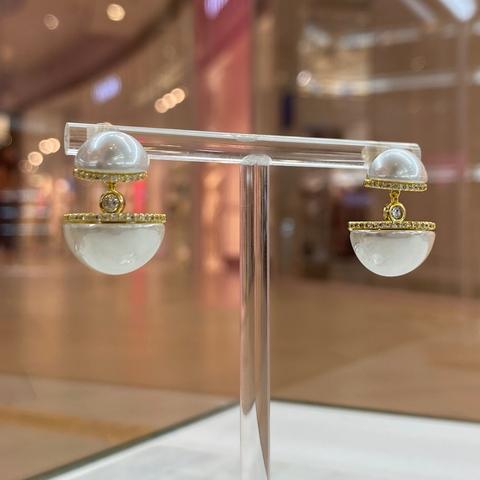 Серьги-подвески жемчужные с цирконами (золотистый)