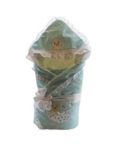 Зимний конверт на выписку для мальчика Newborn голубой