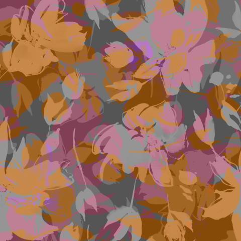 Абстрактные цветы акварелью на коричневом