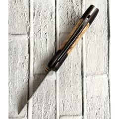 Складной нож Валдай, дамасская сталь, карельская береза