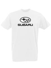 Футболка с принтом Субару (Subaru) белая 0001