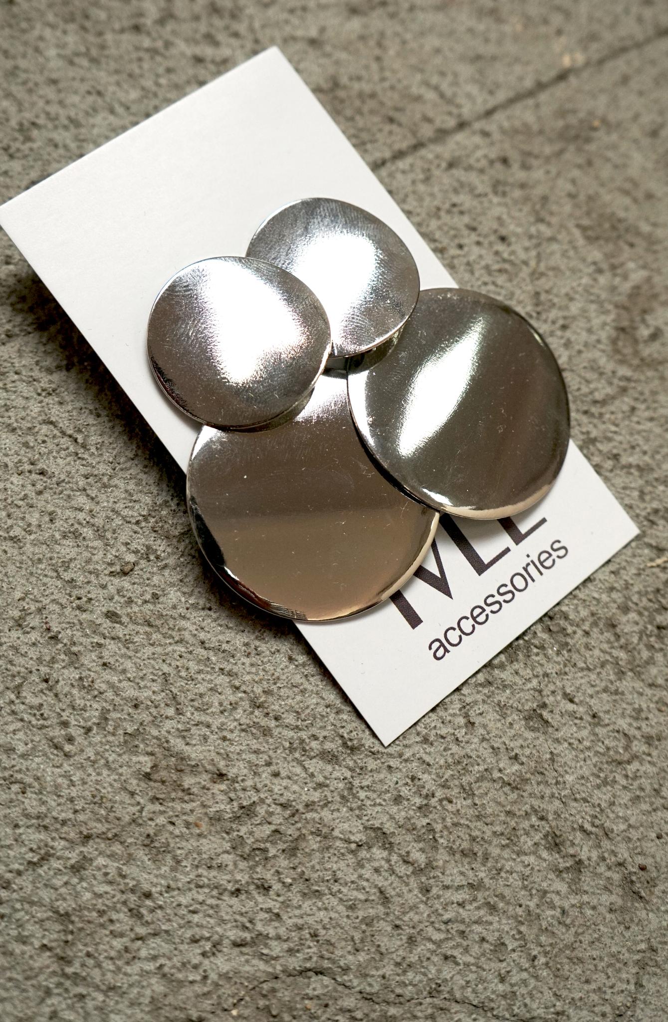 Серьги серебрянные круги два яруса на гвоздике 5,5 см