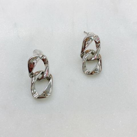 Серьги-подвески из двух звеньев ш925 (серебристый)